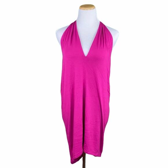 Express Magenta Hi/Low Draped Racerback Tank Dress